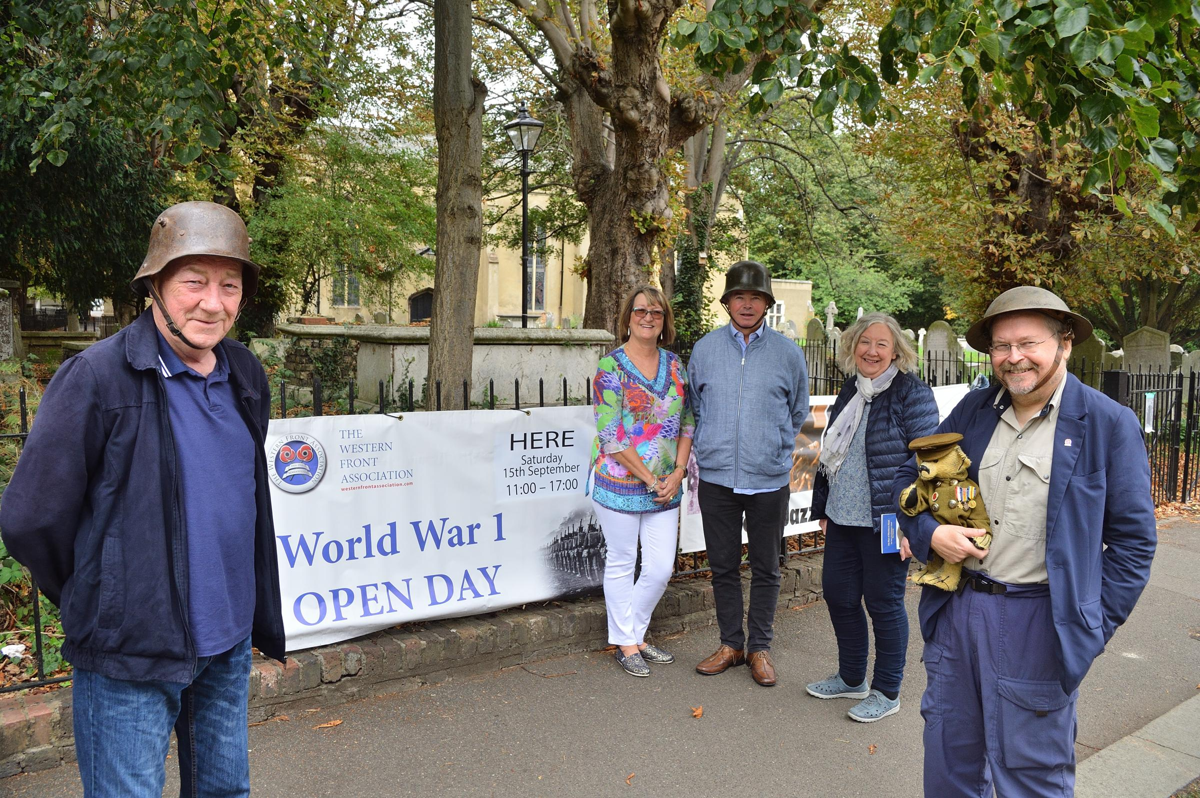 Members of the East London Western Front Association (WFA) Chris Daughters, Sally Pearce, Neil Pearce and Eve Wilson and Chris Hunt (with mascot Kyle) prepare for the upcoming World War One Open Day in Walthamstow