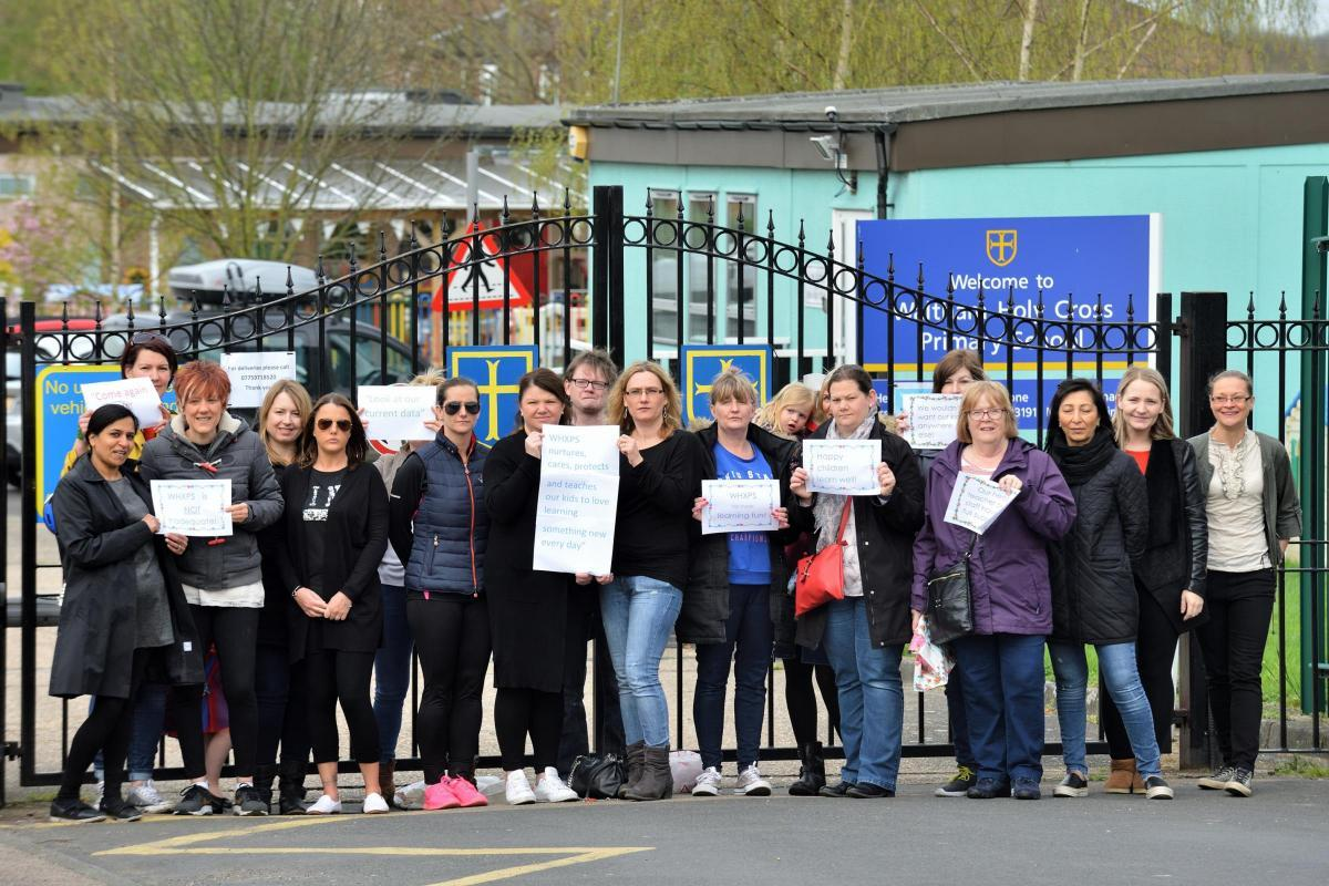 Parents and campaigners are angry about a recent bad Ofsted report and the threat of Waltham Holy Cross school becoming an academy. Waltham Abbey. Essex.