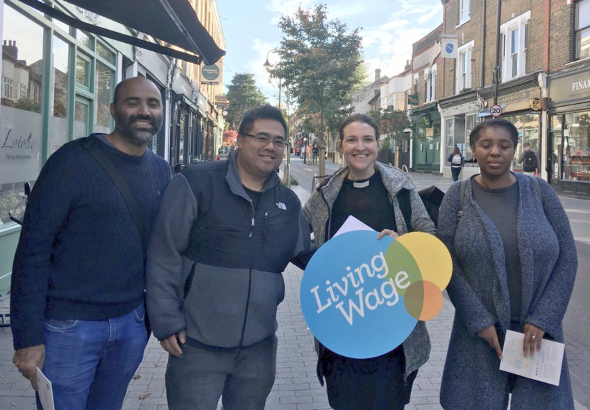 Rev Vanessa Conant, rector of Walthamstow Parish, second from right, with fellow walkers to celerate the London Living Wage campaign