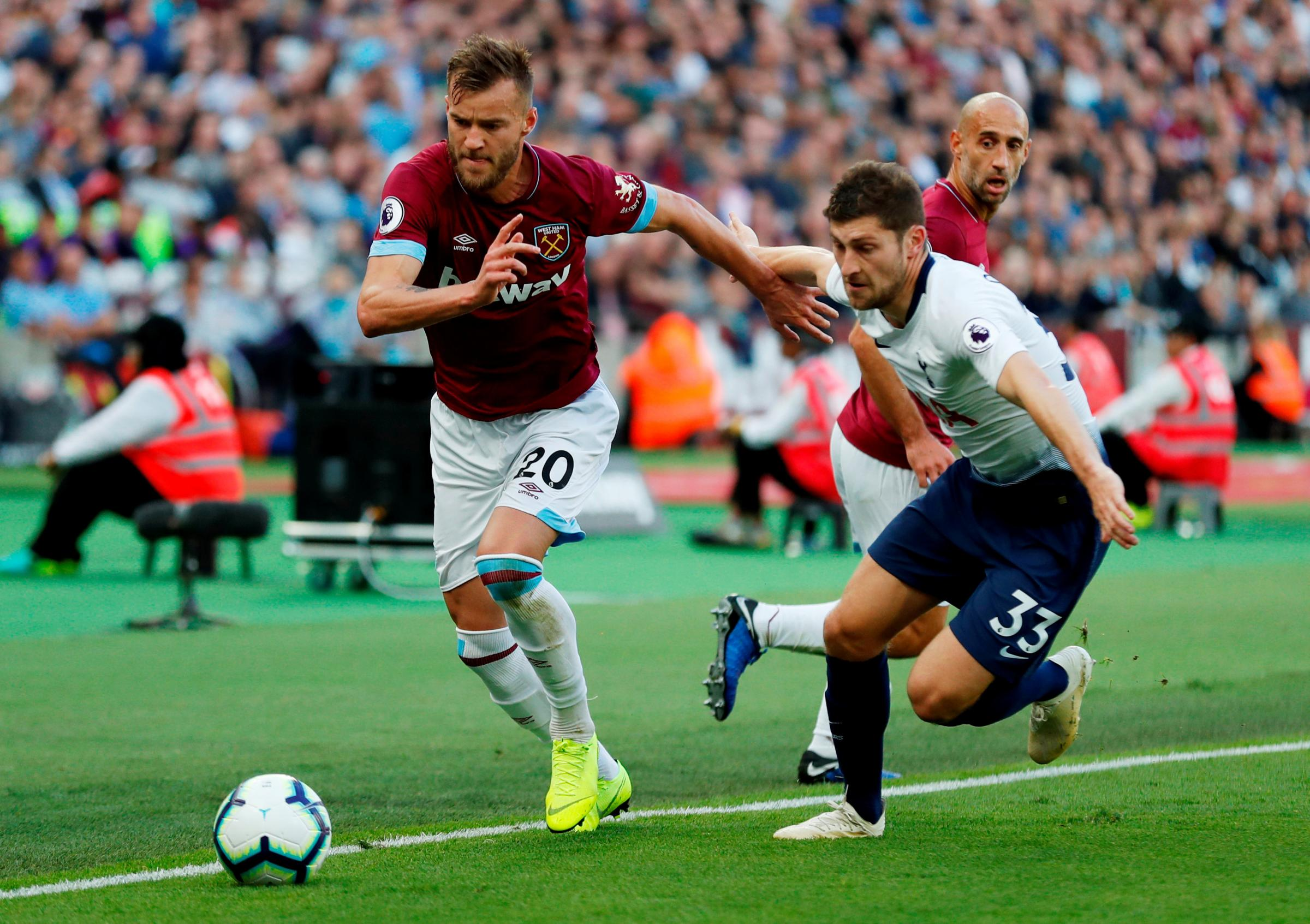 West Ham have been dealt a blow, with Andriy Yarmolenko set to be ruled out for six months. Picture: Action Images.