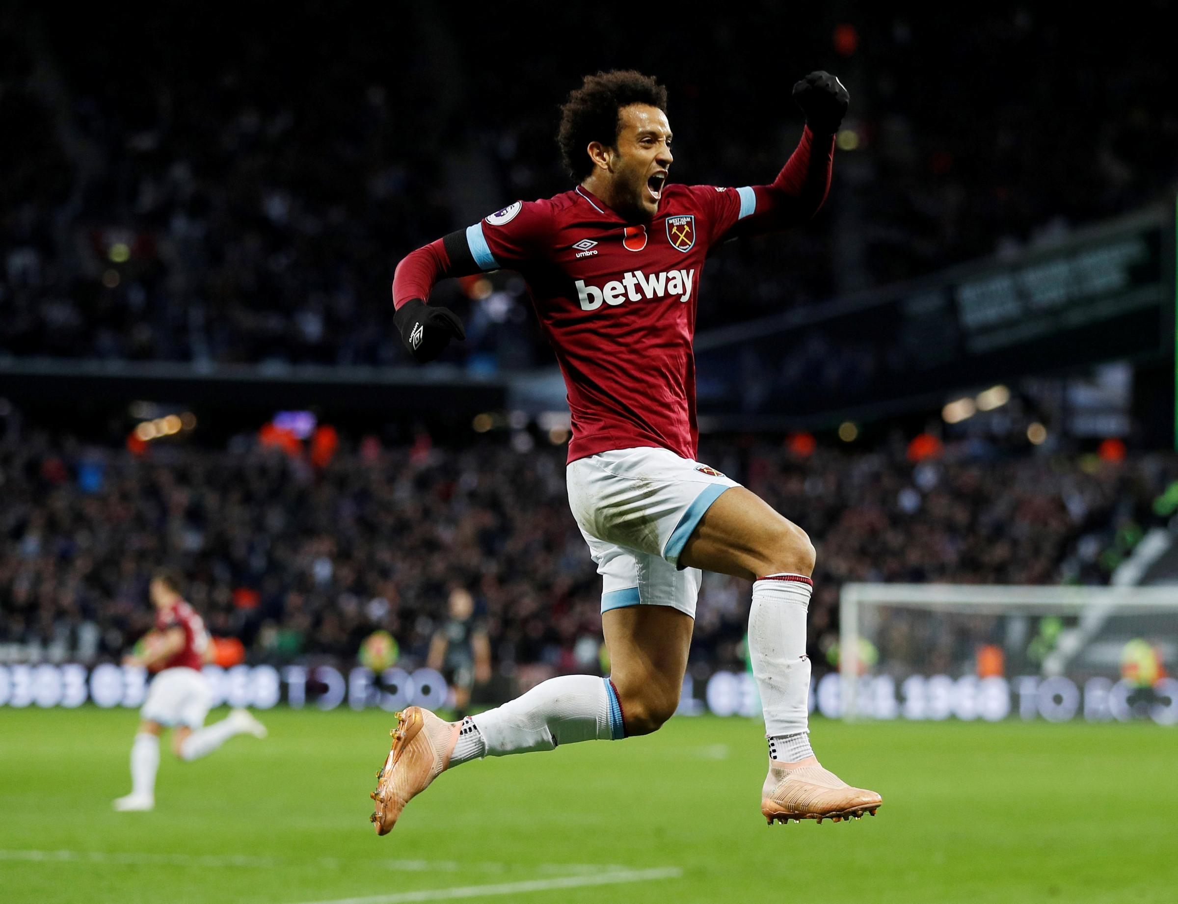 Felipe Anderson celebrates scoring West Ham's second goal. Picture: Action Images