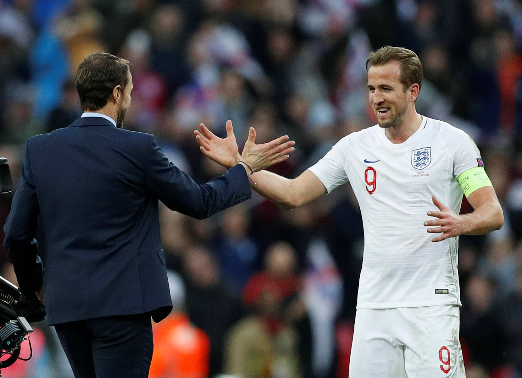 A delighted Harry Kane and Gareth Southgate. Picture: Action Images