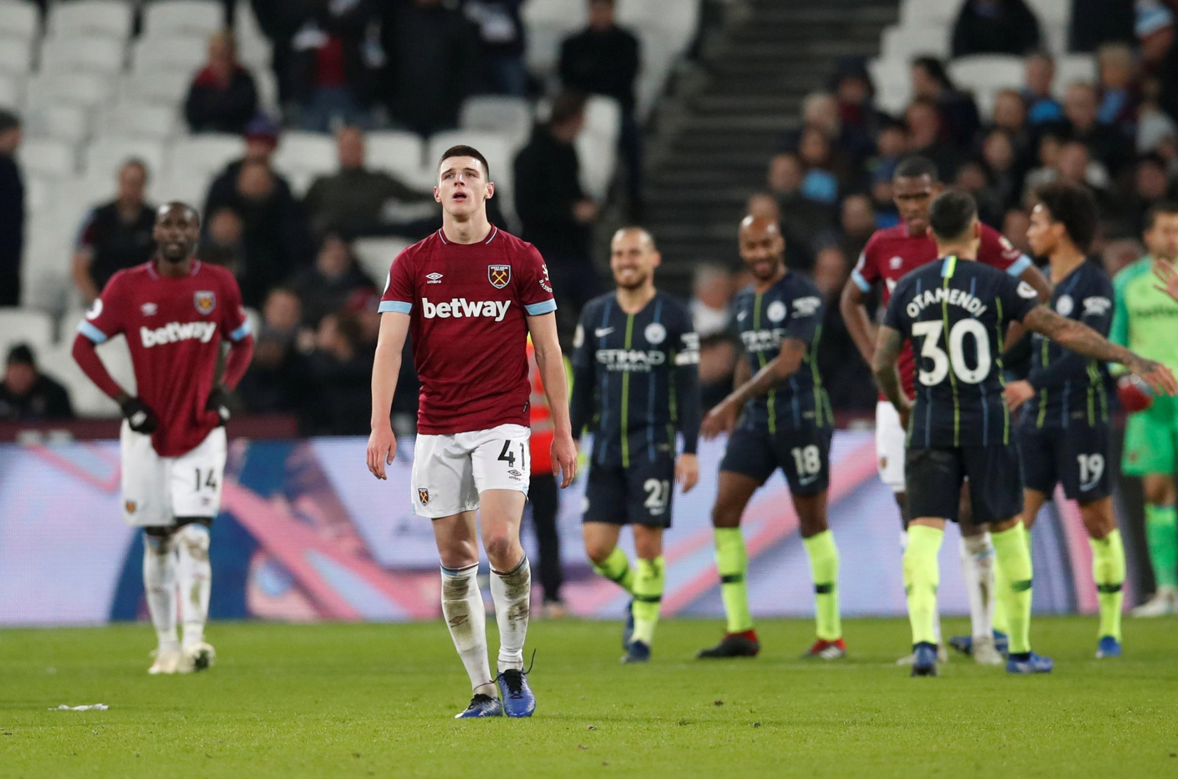 A dejected Declan Rice after Manchester City's fourth goal. Picture: Action Images