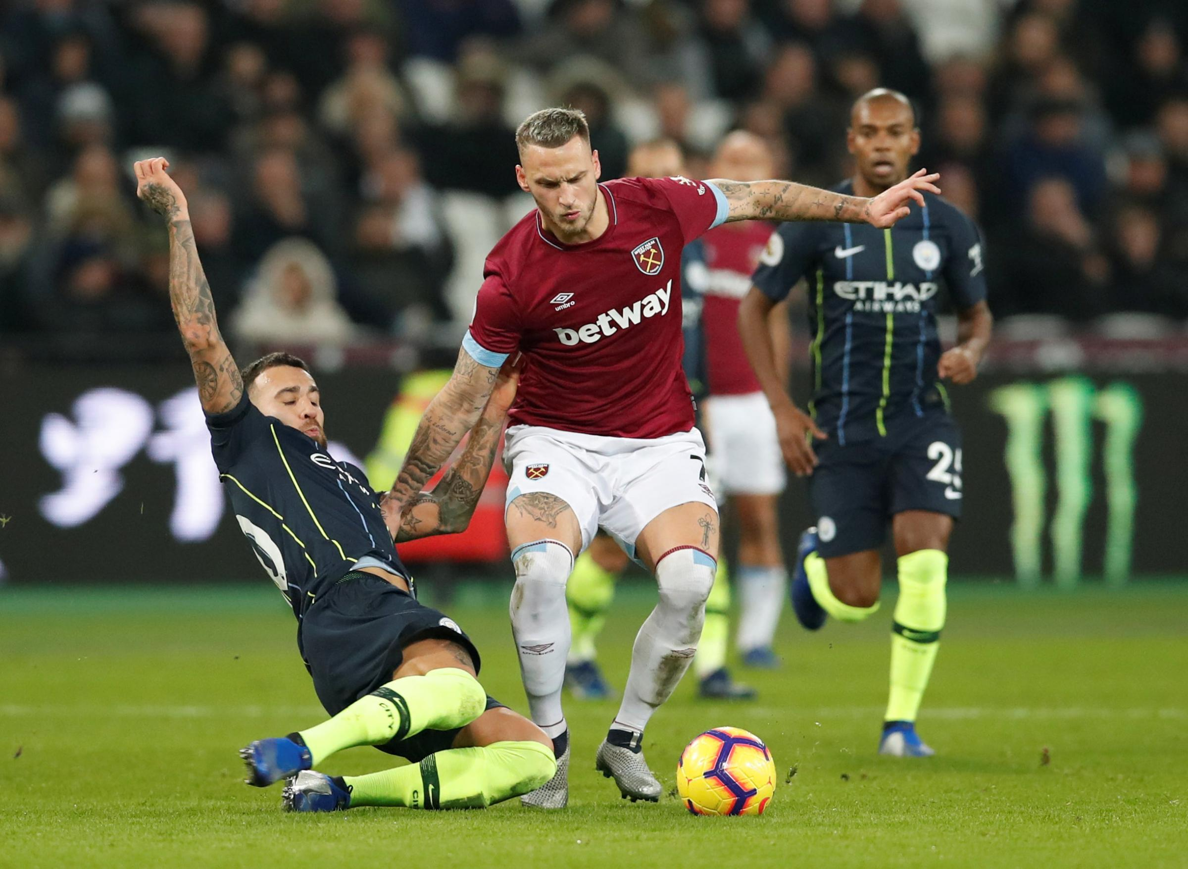 Marko Arnautovic is available following the knock he received against Manchester City. Picture: Action Images