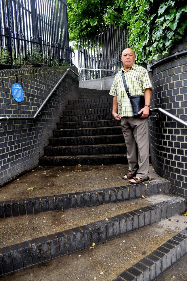 Ronald Payne stands on the steps connecting High Road, Leyton, to Goodall Road which he says stink of urine
