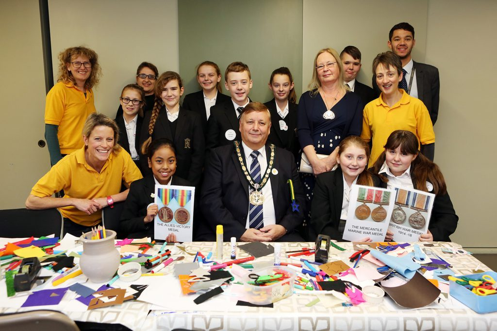 Year 8 students with Cllr Richard Bassett