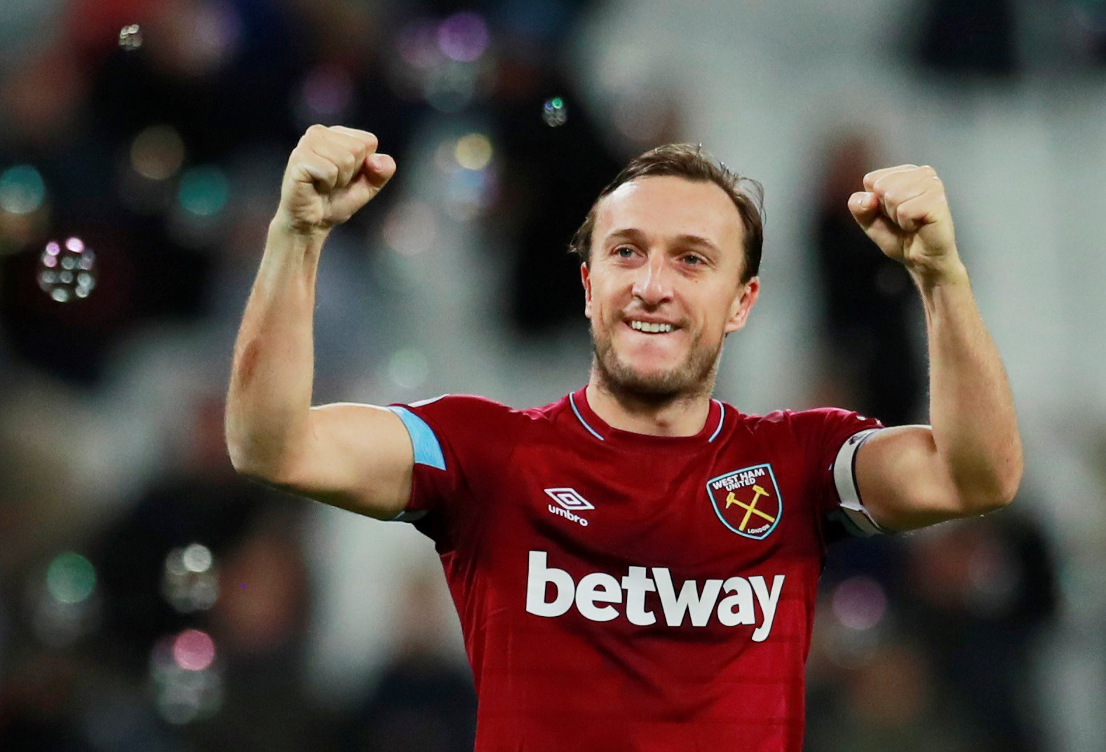 Mark Noble celebrating Saturday's win over Crystal Palace. Picture: Action Images
