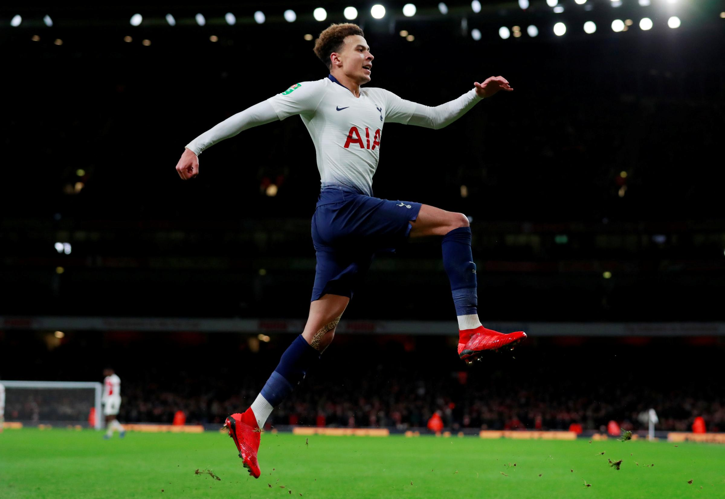 Dele Alli celebrates his superb goal. Picture: Action Images
