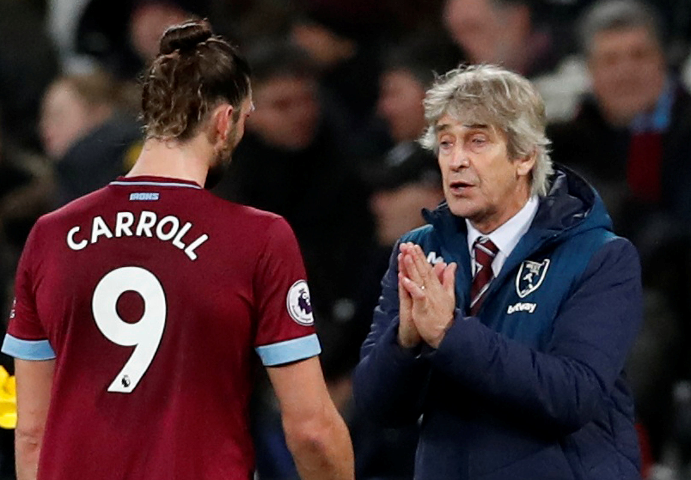 The Hammers boss does not think Andy Carroll will be sold this month. Picture: Action Images