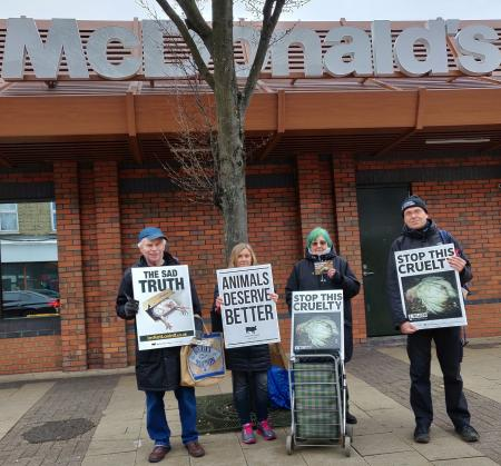 Members of the Waltham Forest Animal Protection outside McDonald's Leytonstone