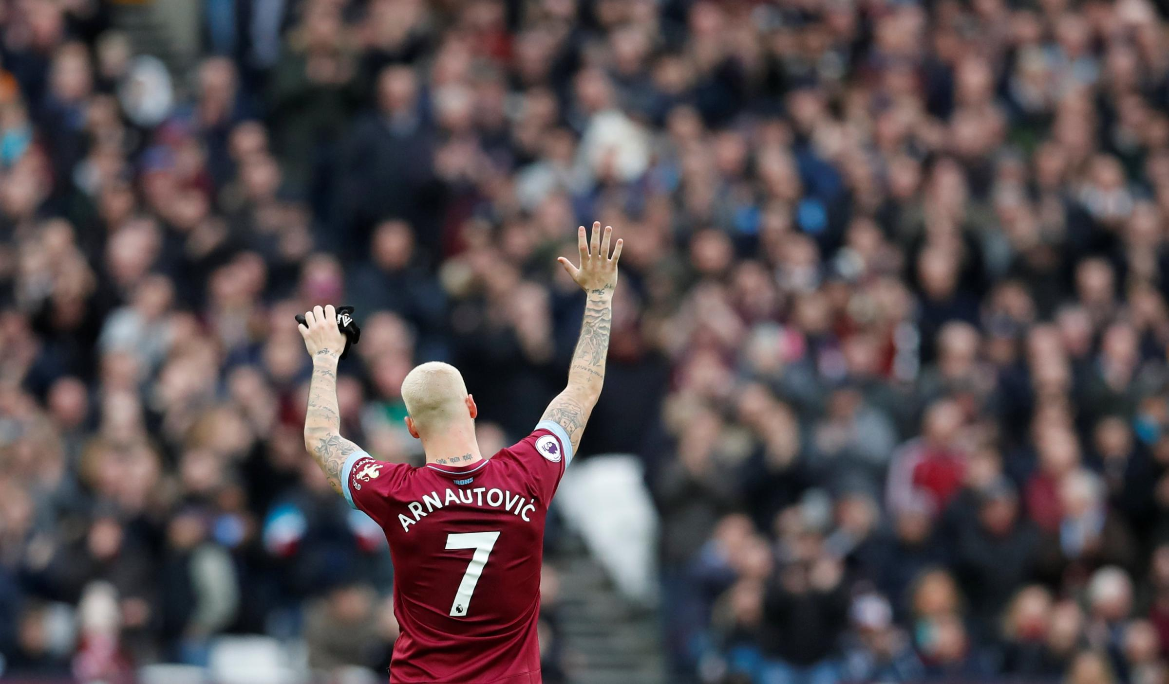 Farewell? Marko Arnautovic waves after being substituted. Picture: Action Images