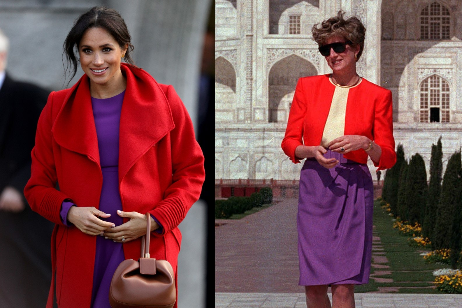 The Duchess of Sussex and the Princess of Wales in similar colours