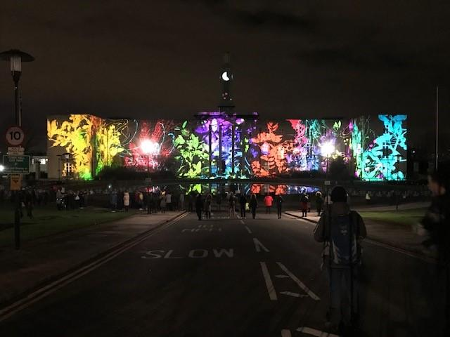 Waltham Forest Town Hall was lit up for the launch of its year as the first Borough of Culture