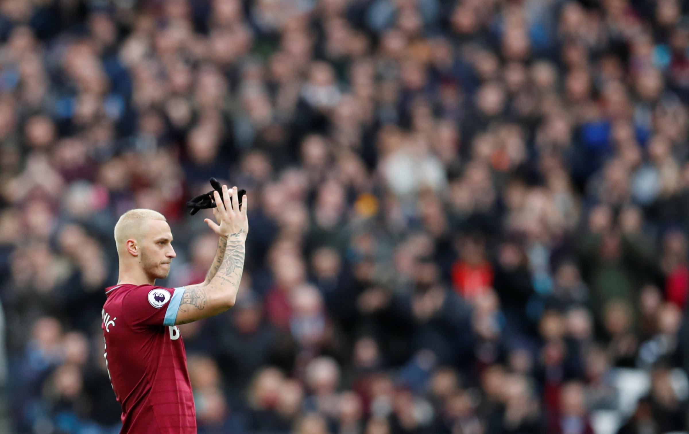 Marko Arnautovic applauds the West Ham fans after being substituted in last week's 1-0 win over Arsenal. Picture: Action Images
