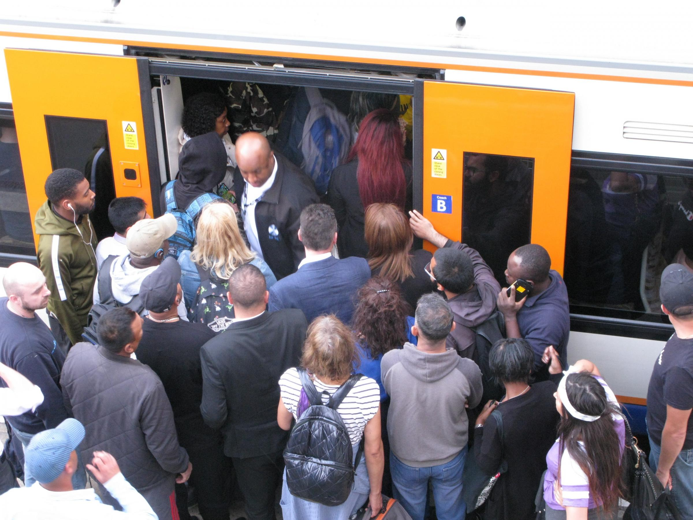Overcrowded platform and trains at Blackhorse Road after a train was cancelled on the evening of 18 September 2018.