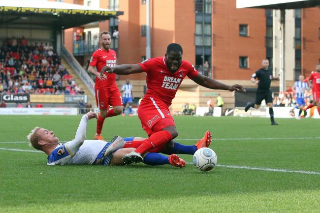 James Alabi goes up against Andrew Davies for Leyton Orient against Hartlepool United. Picture: Simon O'Connor
