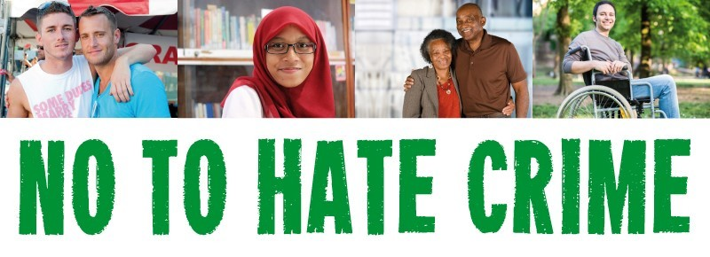 No to hate crime banner