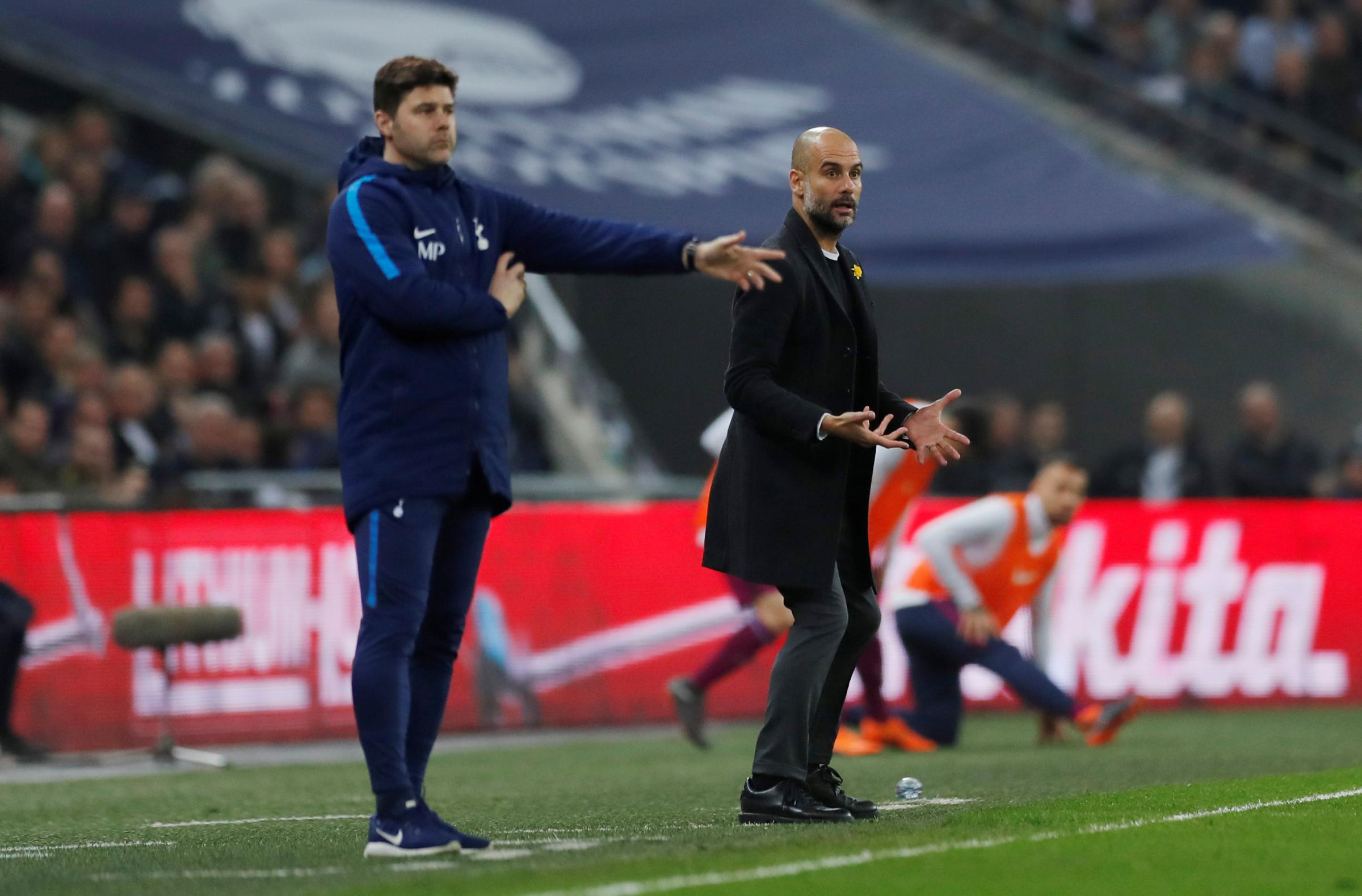 Mauricio Pochettino and Pep Guardiola will meet again in the Champions League last eight. Picture: Action Images