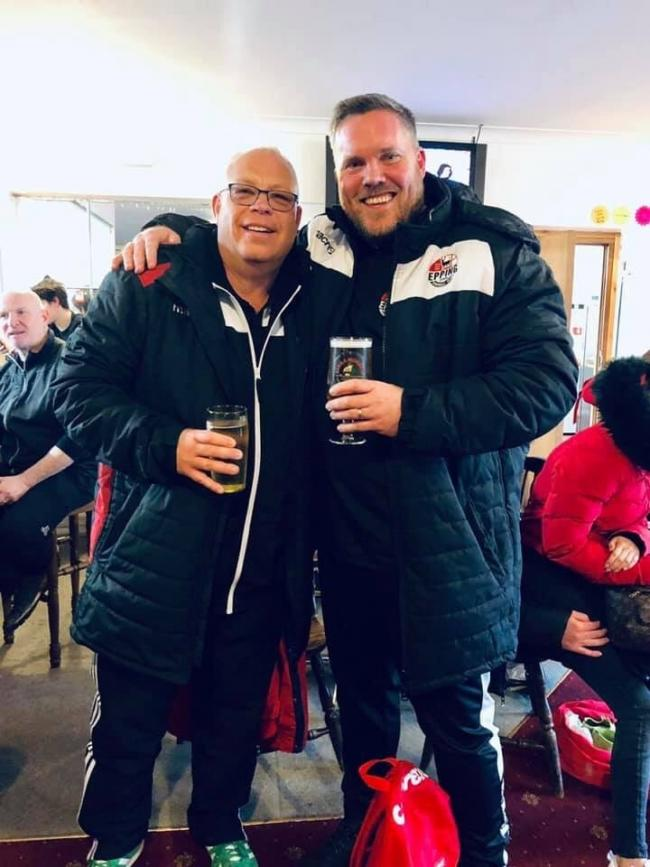 Epping Town Football Club chairman Chris Ottaway and manager Billy Cove celebrate the club's promotion (Picture: Epping Town FC)