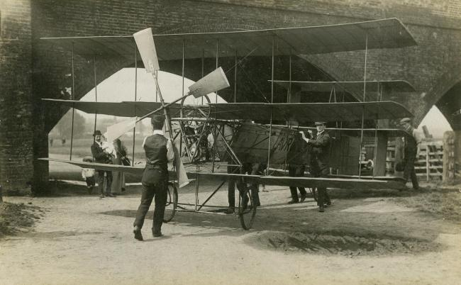 AV Roe with his triplane in Walthamstow in 1909