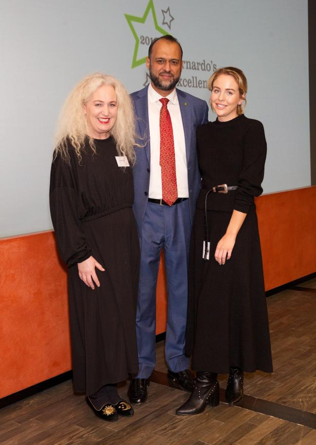 Debbie Douglas and Lydia Bright with Barnardo's CEO Javed Khan