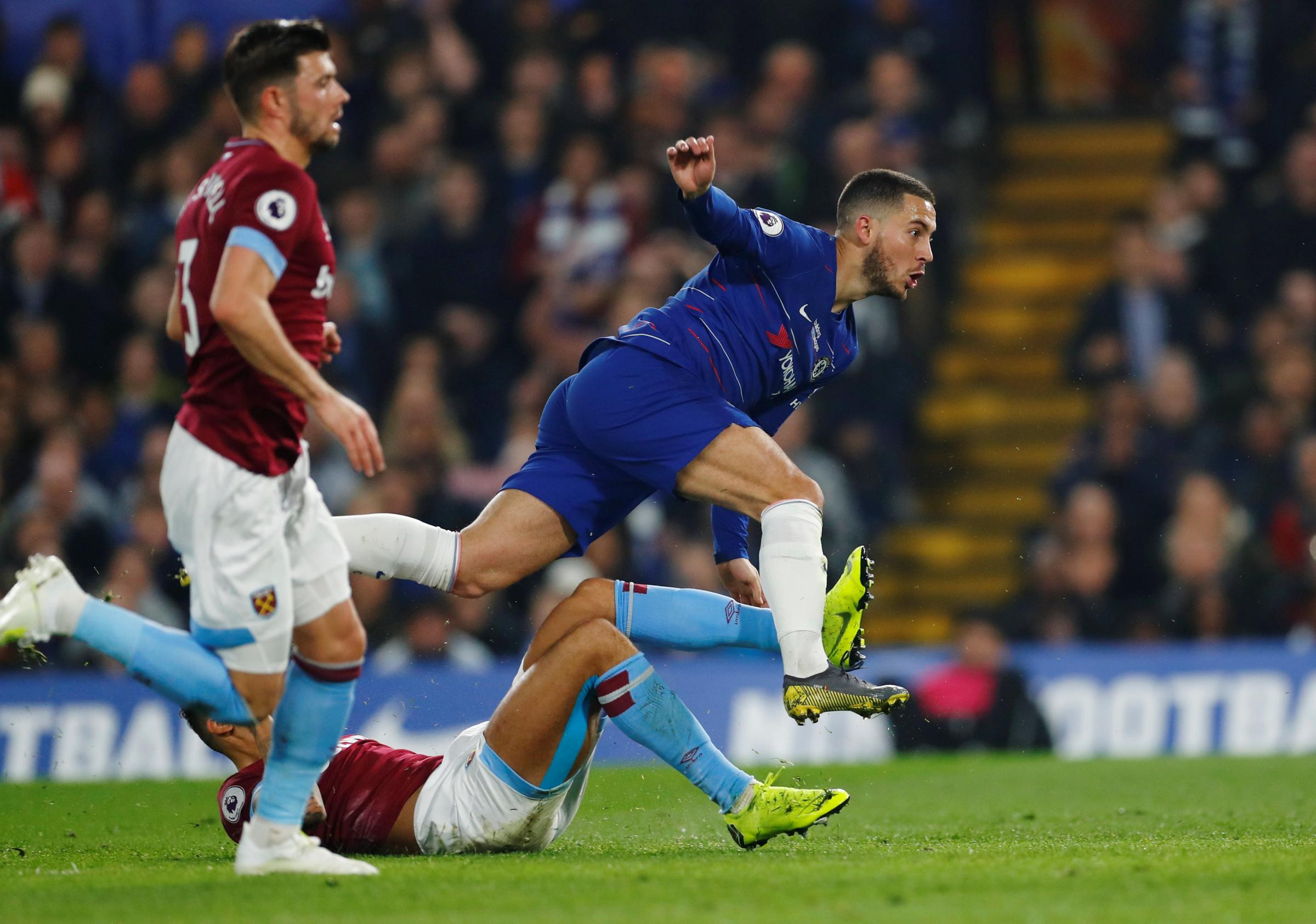 The Hammers are unable to stop Eden Hazard scoring his superb opening goal. Picture: Action Images