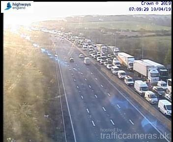 Motorway camera image of M25 traffic caused by vehicle fire.