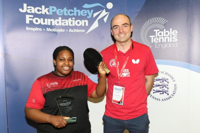 Tiana Dennison was victorious at the Jack Pethcey London and Essex Schools' Table Tennis Singles Finals.