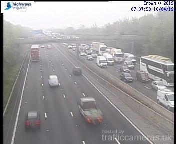 Traffic on the M25 between J25 and J26. [Credit: Motorways camera]