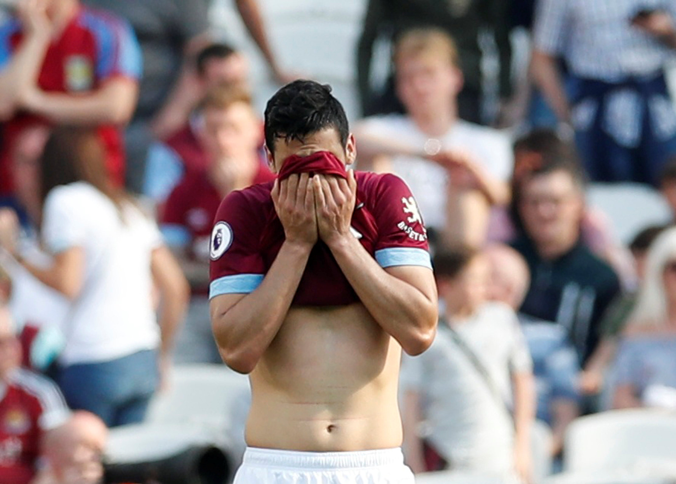 Declan Rice reacts to Leicester's late equaliser. Picture: Action Images
