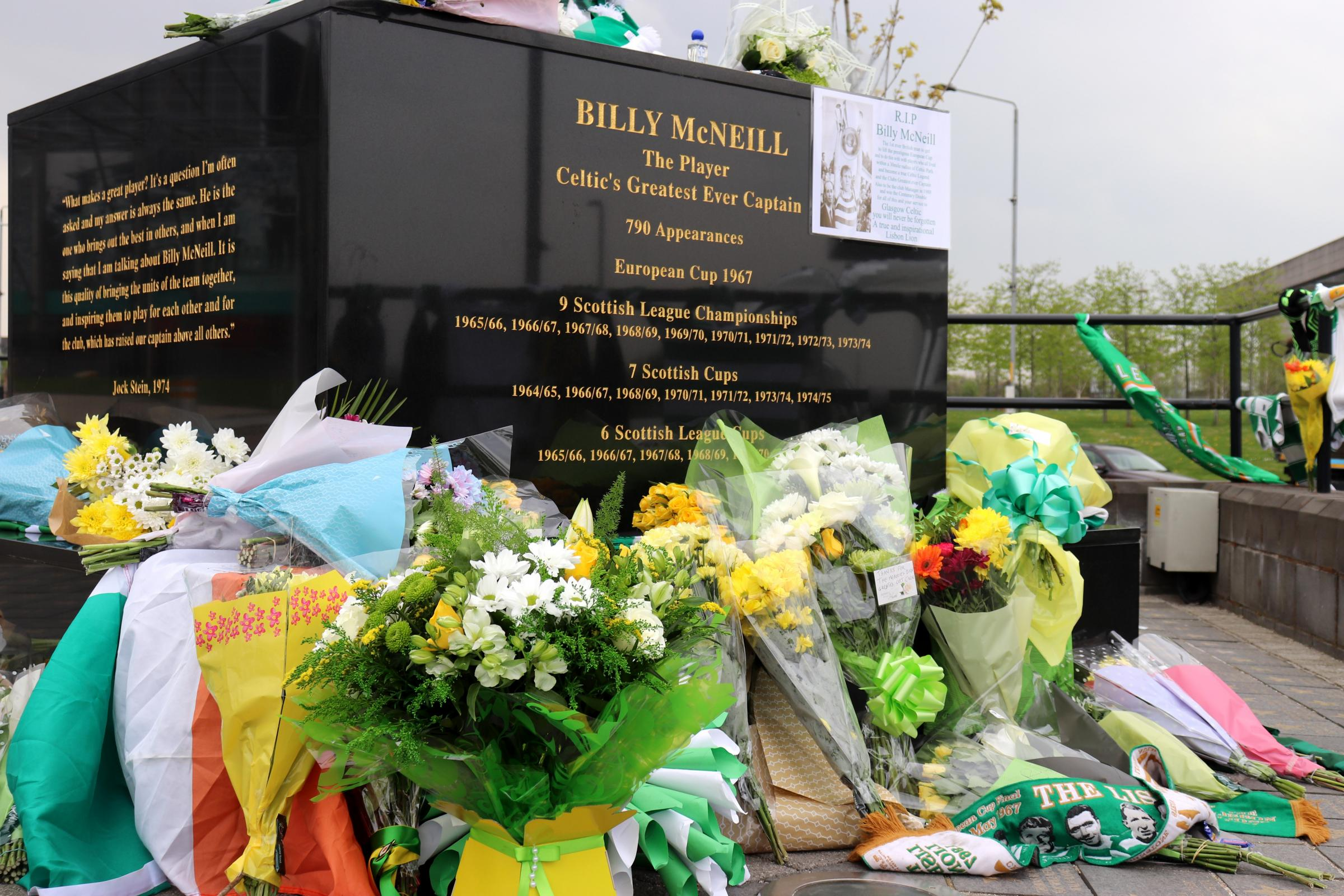 Tributes at Billy McNeill's statue