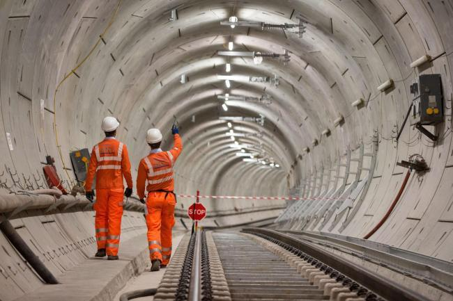 Crossrail engineers in a tunnel