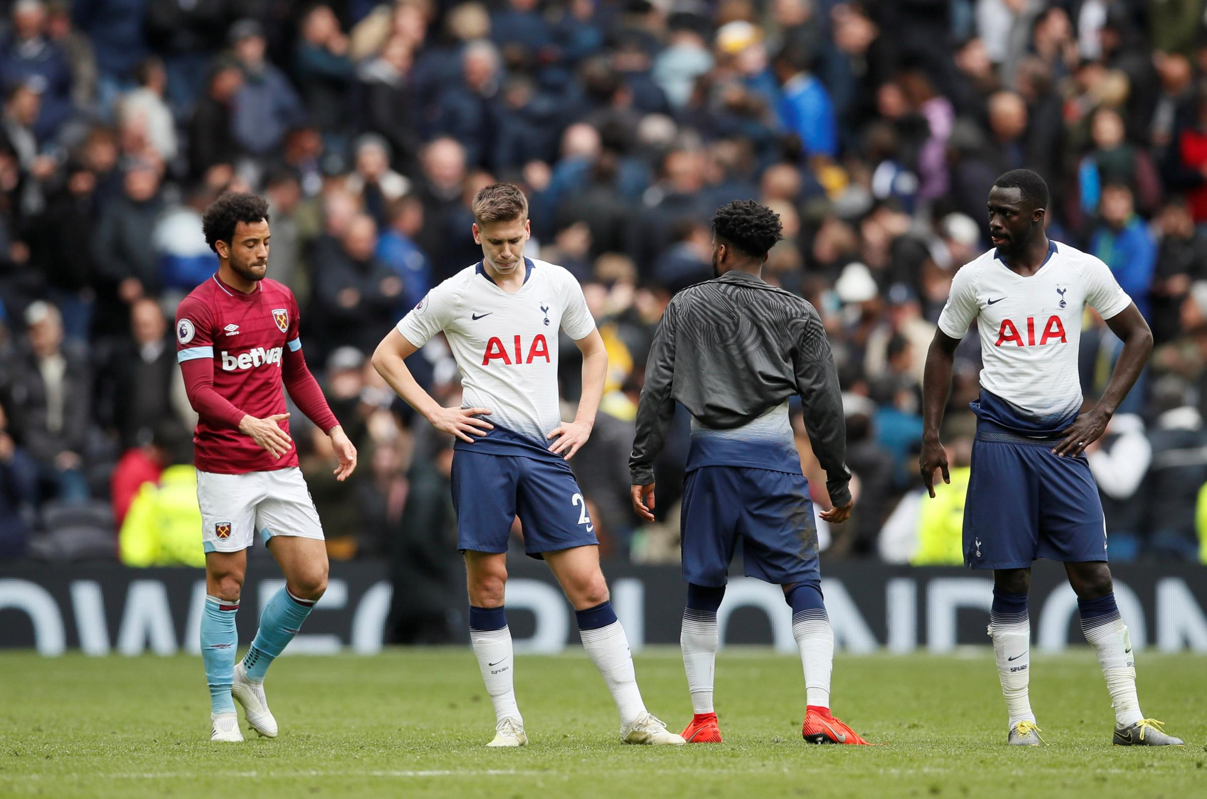A dejected Juan Foyth and Davinson Sanchez at full-time. Picture: Action Images