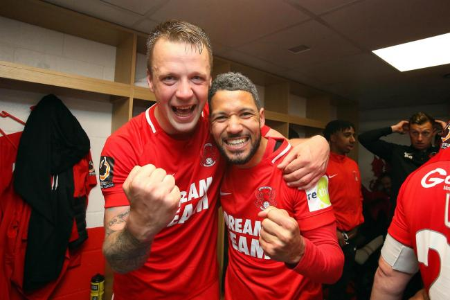 Josh Coulson and Jobi McAnuff celebrate after clinching the National League title. Picture: Simon O'Connor