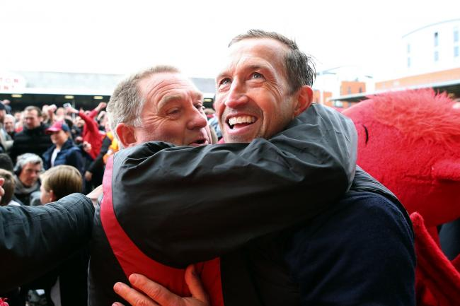 Justin Edinburgh celebrates Leyton Orient's National League win. Picture: Simon O'Connor
