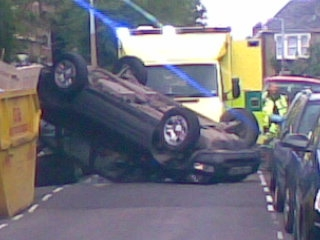 The scene of the crash in Barclay Road, Leytonstone