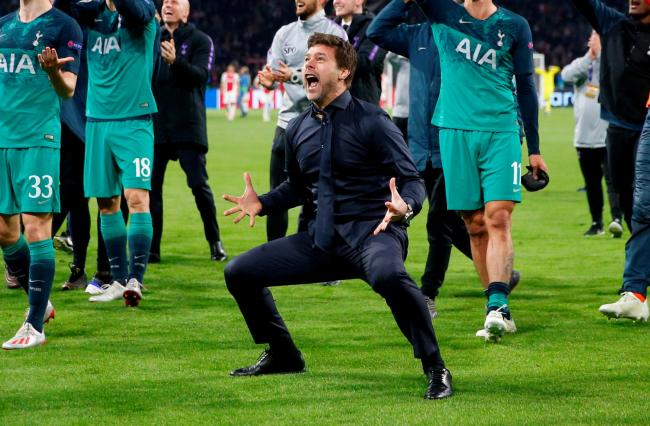 A euphoric Mauricio Pochettino celebrates after Spurs' remarkable success. Picture: Action Images