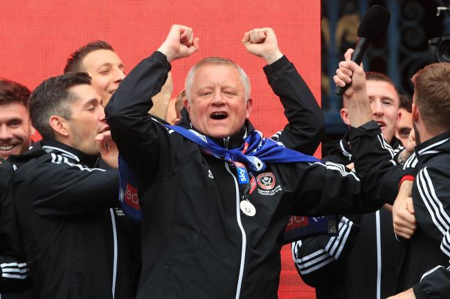 Sheffield United manager Chris Wilder on stage (PA)