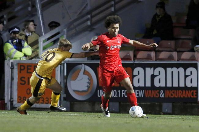 Joe Widdowson in action against Sutton United in the National League. Picture: Simon O'Connor