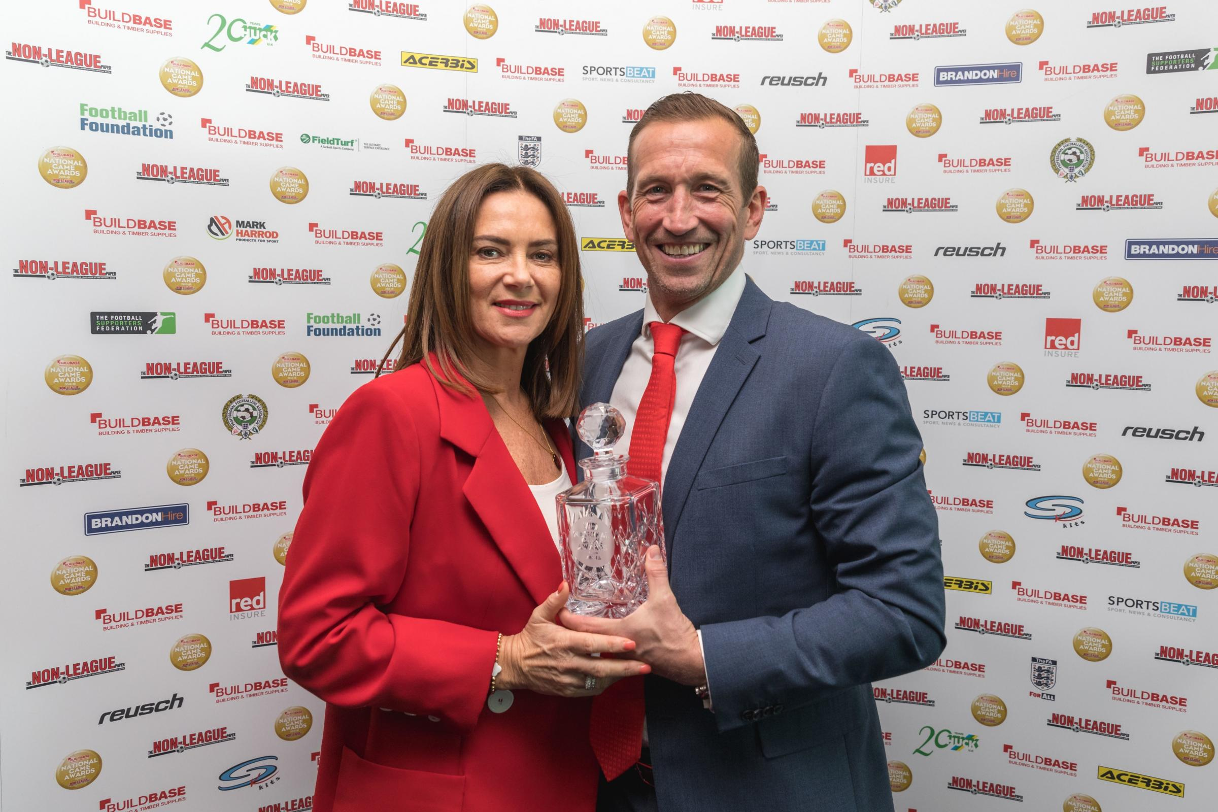 Justin Edinburgh picked up the FieldTurf Manager of the Year award at the National Game Awards.