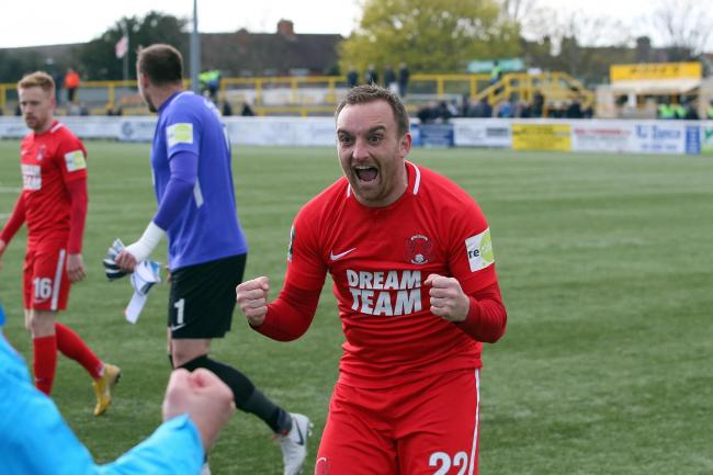 Charlie Lee celebrates after the National League game against Sutton United. Picture: Simon O'Connor