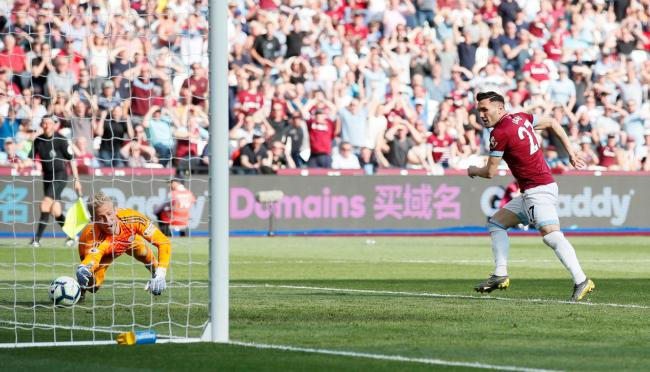 Lucas Perez scores for West Ham United against Leicester City. Picture: Action Images