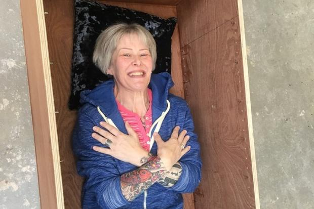 HELPFUL: Councillor Ceri Stalker has built her own coffin - and will be using it as a bookshelf in her home – to save her family money on funeral services